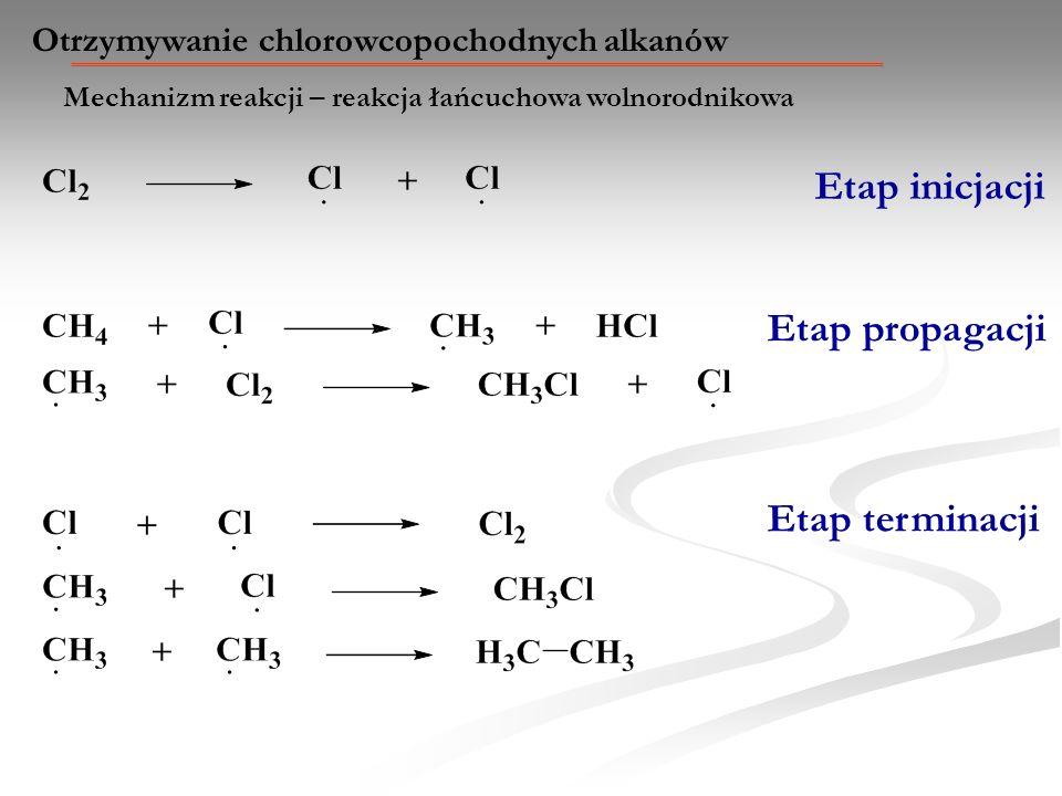 Mechanizm reakcji – reakcja łańcuchowa wolnorodnikowa Otrzymywanie chlorowcopochodnych alkanów Etap inicjacji Etap propagacji Etap terminacji