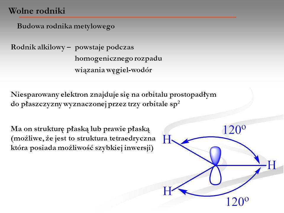 Wolne rodniki Budowa rodnika metylowego Rodnik alkilowy – powstaje podczas homogenicznego rozpadu wiązania węgiel-wodór Ma on strukturę płaską lub pra