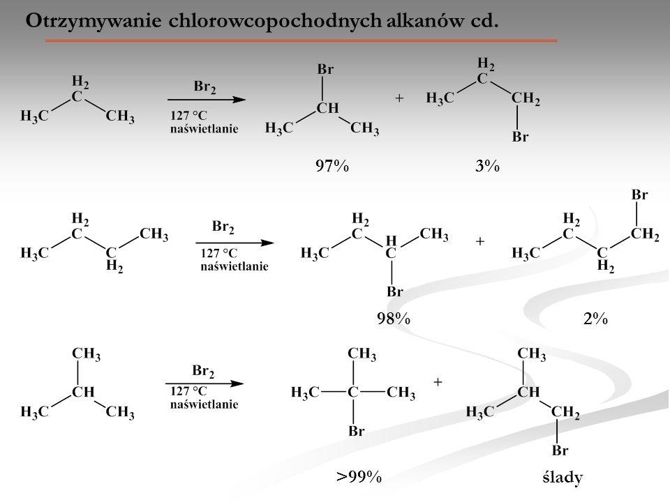 Otrzymywanie chlorowcopochodnych alkanów cd. 97% 3% 98% 2% >99% ślady