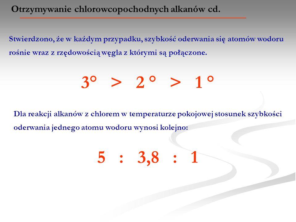 Otrzymywanie chlorowcopochodnych alkanów cd. Stwierdzono, że w każdym przypadku, szybkość oderwania się atomów wodoru rośnie wraz z rzędowością węgla