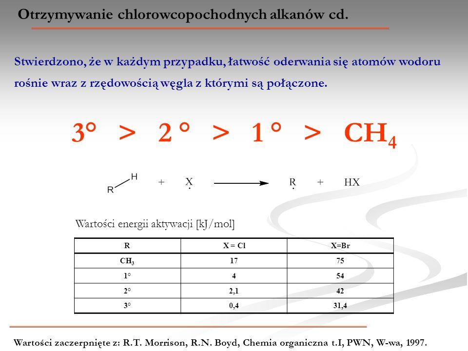 Otrzymywanie chlorowcopochodnych alkanów cd. Stwierdzono, że w każdym przypadku, łatwość oderwania się atomów wodoru rośnie wraz z rzędowością węgla z