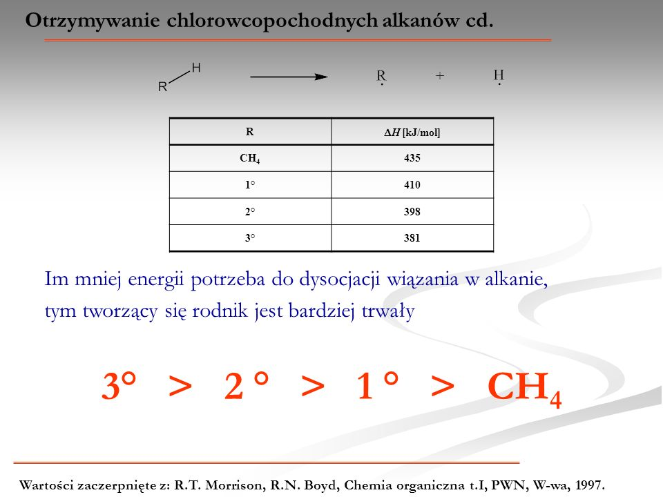 Otrzymywanie chlorowcopochodnych alkanów cd. R H [kJ/mol] CH 4 435 1°410 2°398 3°381 Im mniej energii potrzeba do dysocjacji wiązania w alkanie, tym t