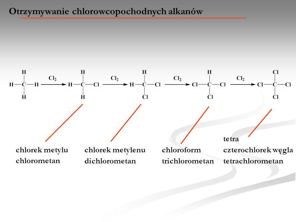 Otrzymywanie chlorowcopochodnych alkanów chlorek metylu chlorometan chlorek metylenu dichlorometan chloroform trichlorometan tetra tetrachlorometan cz