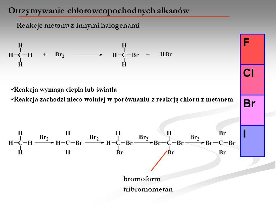 Otrzymywanie chlorowcopochodnych alkanów Reakcje metanu z innymi halogenami F Cl Br I Reakcja wymaga ciepła lub światła Reakcja zachodzi nieco wolniej