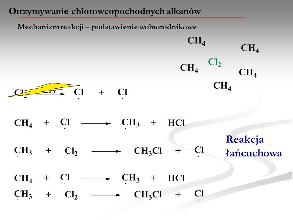Mechanizm reakcji – podstawienie wolnorodnikowe Otrzymywanie chlorowcopochodnych alkanów h Reakcja łańcuchowa