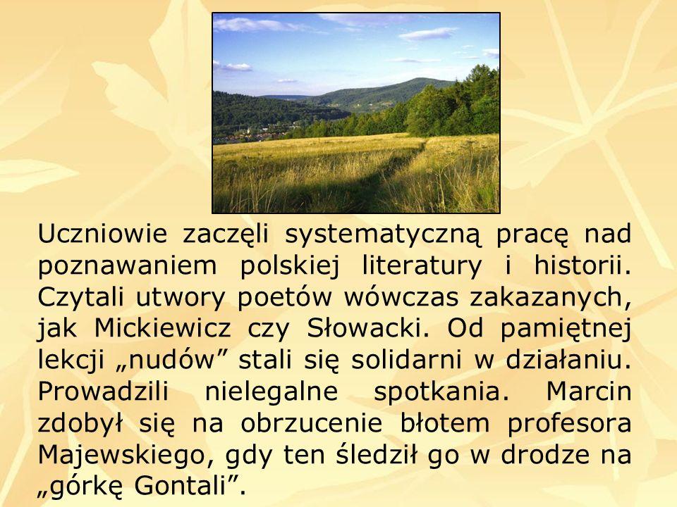 Uczniowie zaczęli systematyczną pracę nad poznawaniem polskiej literatury i historii. Czytali utwory poetów wówczas zakazanych, jak Mickiewicz czy Sło