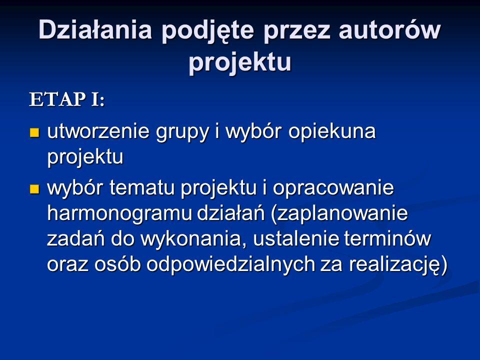 Działania podjęte przez autorów projektu ETAP I: utworzenie grupy i wybór opiekuna projektu utworzenie grupy i wybór opiekuna projektu wybór tematu pr