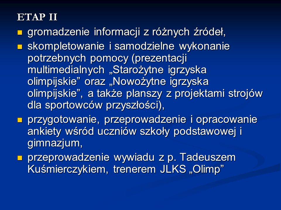 ETAP II gromadzenie informacji z różnych źródeł, gromadzenie informacji z różnych źródeł, skompletowanie i samodzielne wykonanie potrzebnych pomocy (p