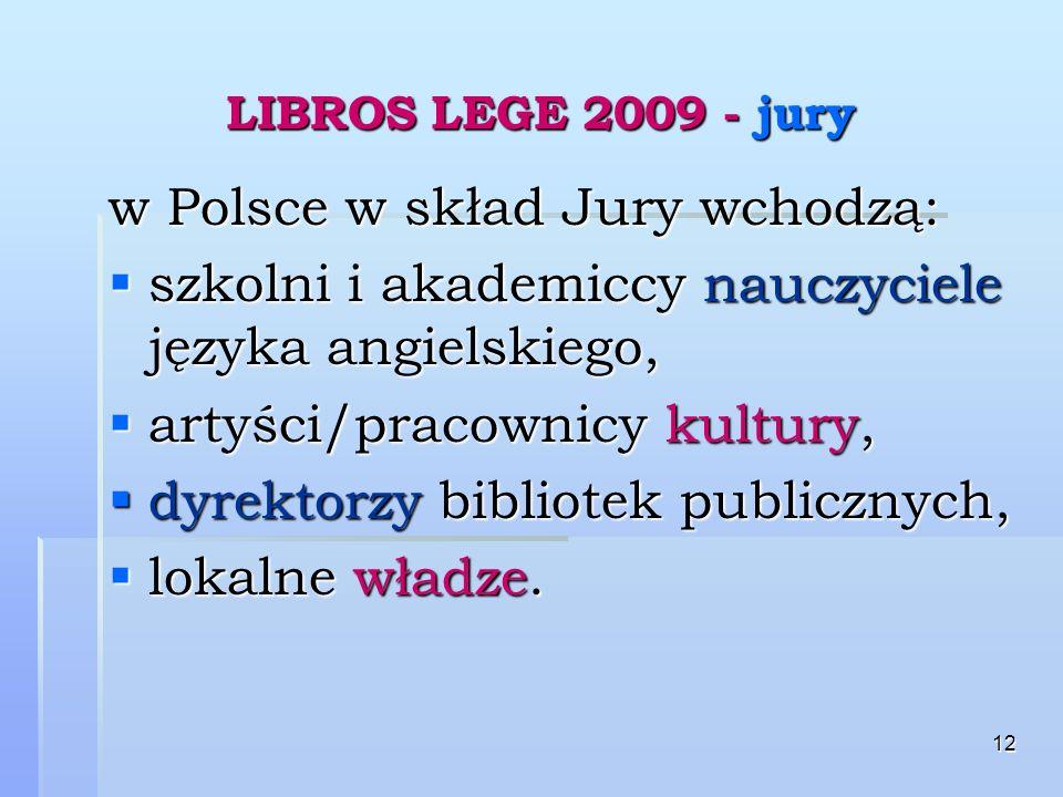 12 LIBROS LEGE 2009 - jury w Polsce w skład Jury wchodzą: szkolni i akademiccy nauczyciele języka angielskiego, szkolni i akademiccy nauczyciele języka angielskiego, artyści/pracownicy kultury, artyści/pracownicy kultury, dyrektorzy bibliotek publicznych, dyrektorzy bibliotek publicznych, lokalne władze.
