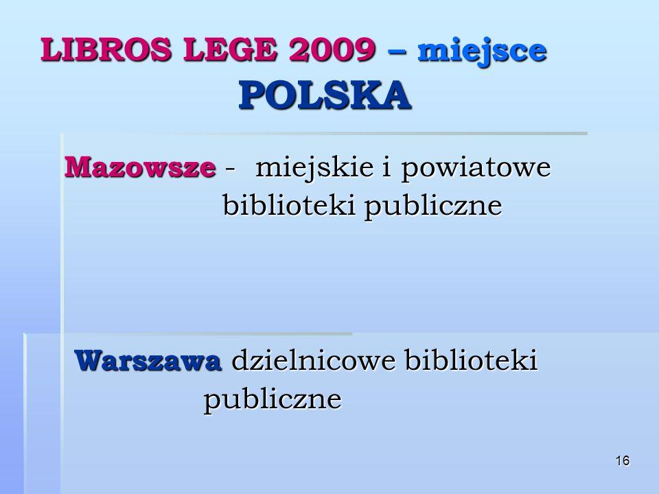 16 LIBROS LEGE 2009 – miejsce POLSKA Mazowsze - miejskie i powiatowe Mazowsze - miejskie i powiatowe biblioteki publiczne biblioteki publiczne Warszawa dzielnicowe biblioteki Warszawa dzielnicowe biblioteki publiczne publiczne
