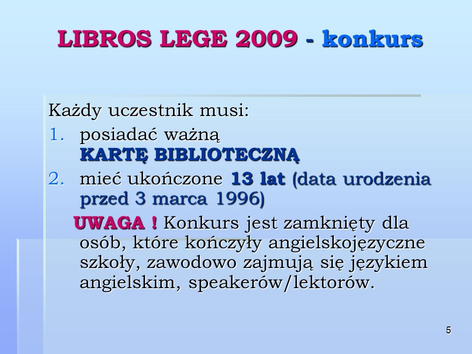 6 LIBROS LEGE 2009 - konkurs A.