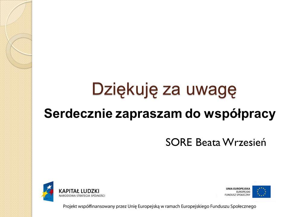 Dziękuję za uwagę Serdecznie zapraszam do współpracy SORE Beata Wrzesień