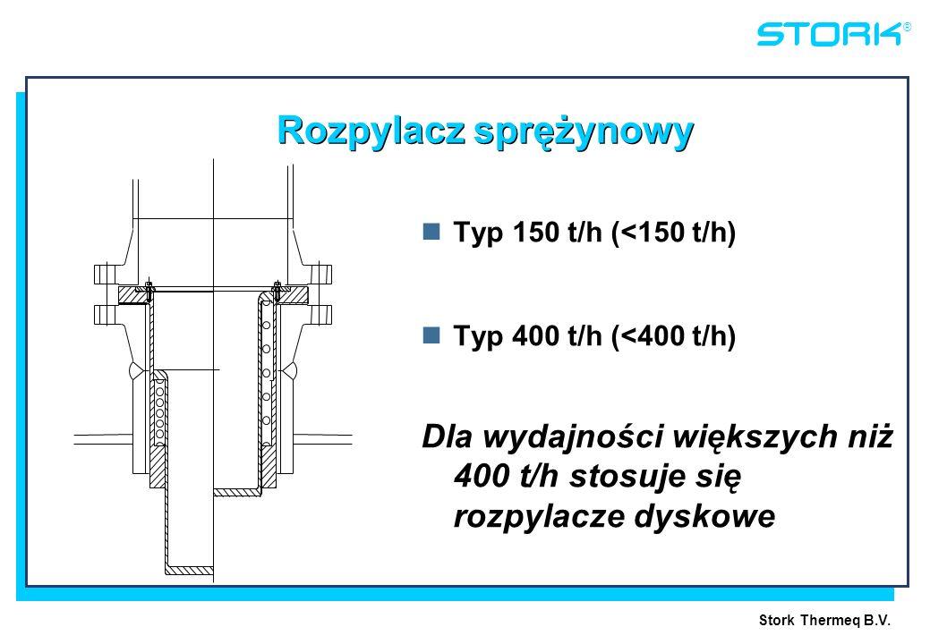 Stork Thermeq B.V. ® Rozpylacz sprężynowy Typ 150 t/h (<150 t/h) Typ 400 t/h (<400 t/h) Dla wydajności większych niż 400 t/h stosuje się rozpylacze dy