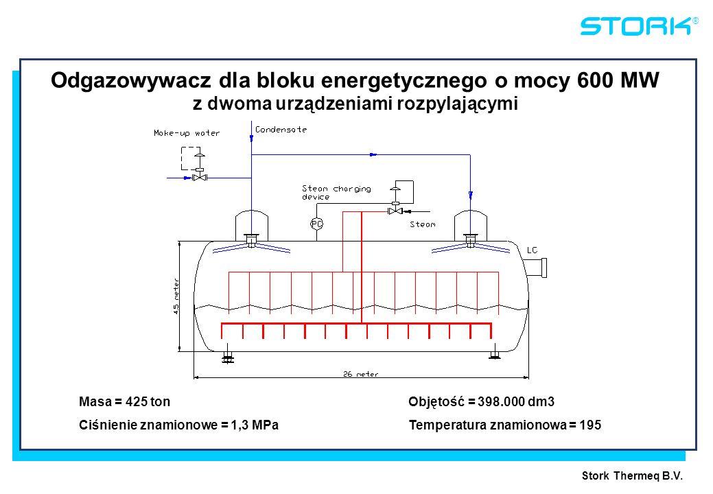 Stork Thermeq B.V. ® Masa = 425 ton Objętość = 398.000 dm3 Ciśnienie znamionowe = 1,3 MPaTemperatura znamionowa = 195 Odgazowywacz dla bloku energetyc