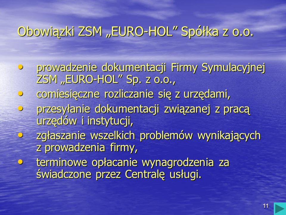 11 Obowiązki ZSM EURO-HOL Spółka z o.o. prowadzenie dokumentacji Firmy Symulacyjnej ZSM EURO-HOL Sp. z o.o., prowadzenie dokumentacji Firmy Symulacyjn