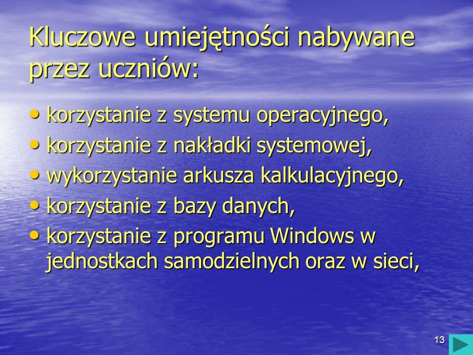 13 Kluczowe umiejętności nabywane przez uczniów: korzystanie z systemu operacyjnego, korzystanie z systemu operacyjnego, korzystanie z nakładki system
