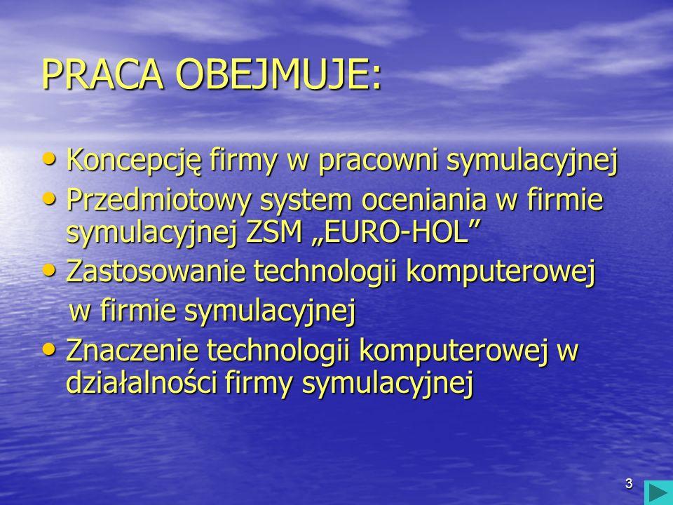 4 KONCEPCJA FIRMY W PRACOWNI SYMULACYJNEJ obejmuje: Charakterystykę Centrali Firm Symulacyjnych CENSYM Charakterystykę Centrali Firm Symulacyjnych CENSYM Charakterystykę Firmy Symulacyjnej ZSM EURO-HOL Spółka z o.o.