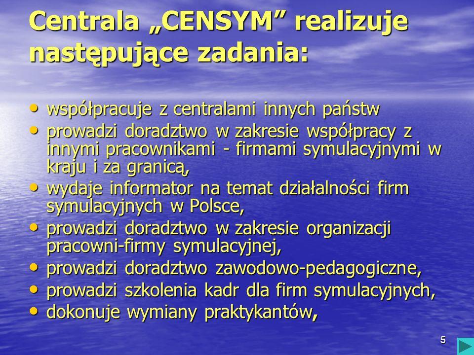 5 Centrala CENSYM realizuje następujące zadania: współpracuje z centralami innych państw współpracuje z centralami innych państw prowadzi doradztwo w