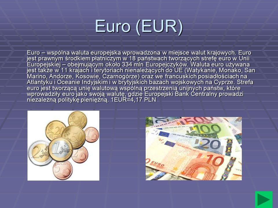Euro (EUR) Euro – wspólna waluta europejska wprowadzona w miejsce walut krajowych. Euro jest prawnym środkiem płatniczym w 18 państwach tworzących str