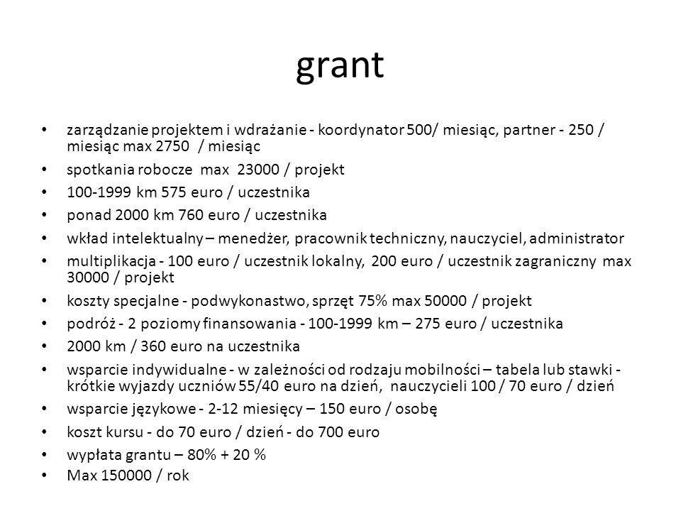 grant zarządzanie projektem i wdrażanie - koordynator 500/ miesiąc, partner - 250 / miesiąc max 2750 / miesiąc spotkania robocze max 23000 / projekt 100-1999 km 575 euro / uczestnika ponad 2000 km 760 euro / uczestnika wkład intelektualny – menedżer, pracownik techniczny, nauczyciel, administrator multiplikacja - 100 euro / uczestnik lokalny, 200 euro / uczestnik zagraniczny max 30000 / projekt koszty specjalne - podwykonastwo, sprzęt 75% max 50000 / projekt podróż - 2 poziomy finansowania - 100-1999 km – 275 euro / uczestnika 2000 km / 360 euro na uczestnika wsparcie indywidualne - w zależności od rodzaju mobilności – tabela lub stawki - krótkie wyjazdy uczniów 55/40 euro na dzień, nauczycieli 100 / 70 euro / dzień wsparcie językowe - 2-12 miesięcy – 150 euro / osobę koszt kursu - do 70 euro / dzień - do 700 euro wypłata grantu – 80% + 20 % Max 150000 / rok