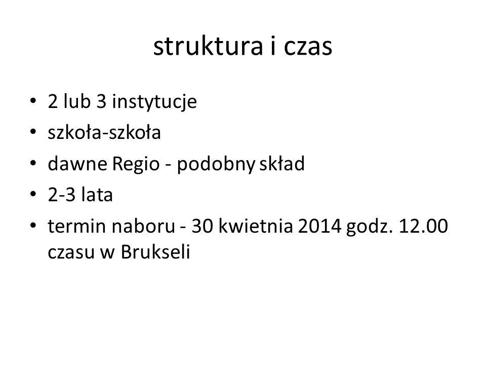 struktura i czas 2 lub 3 instytucje szkoła-szkoła dawne Regio - podobny skład 2-3 lata termin naboru - 30 kwietnia 2014 godz. 12.00 czasu w Brukseli