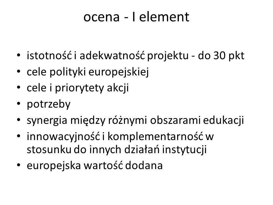 ocena - I element istotność i adekwatność projektu - do 30 pkt cele polityki europejskiej cele i priorytety akcji potrzeby synergia między różnymi obs
