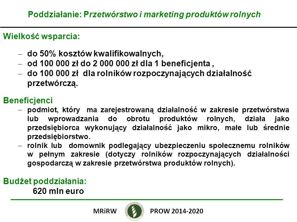 Poddziałanie: Przetwórstwo i marketing produktów rolnych Wielkość wsparcia: do 50% kosztów kwalifikowalnych, od 100 000 zł do 2 000 000 zł dla 1 benef