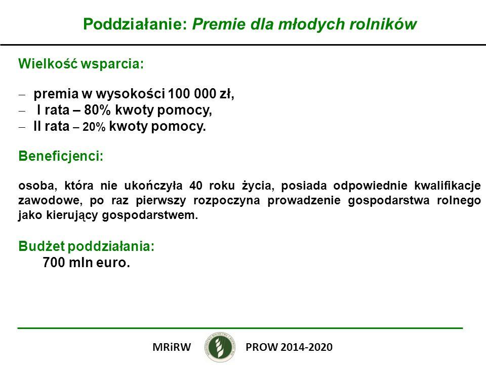 Poddziałanie: Premie dla młodych rolników Wielkość wsparcia: premia w wysokości 100 000 zł, I rata – 80% kwoty pomocy, II rata – 20% kwoty pomocy. Ben