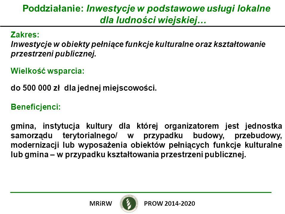 Poddziałanie: Inwestycje w podstawowe usługi lokalne dla ludności wiejskiej… Zakres: Inwestycje w obiekty pełniące funkcje kulturalne oraz kształtowan