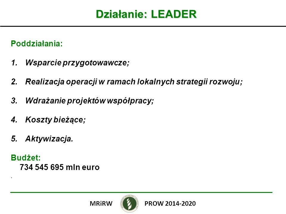 Działanie: LEADER Poddziałania: 1.Wsparcie przygotowawcze; 2.Realizacja operacji w ramach lokalnych strategii rozwoju; 3.Wdrażanie projektów współprac