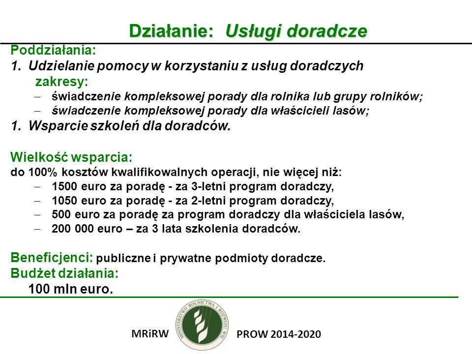 Poddziałanie: Premie dla młodych rolników Wielkość wsparcia: premia w wysokości 100 000 zł, I rata – 80% kwoty pomocy, II rata – 20% kwoty pomocy.