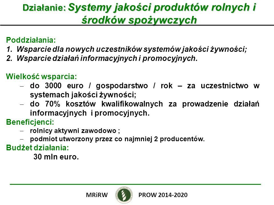 Działanie: Systemy jakości produktów rolnych i środków spożywczych Poddziałania: 1.Wsparcie dla nowych uczestników systemów jakości żywności; 2.Wsparc