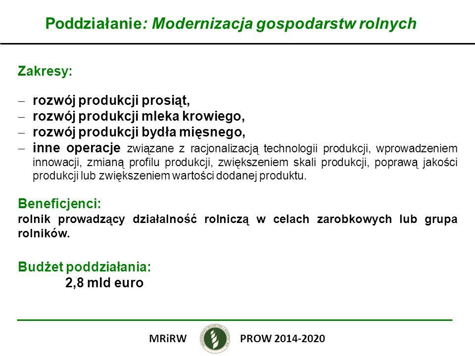 Poddziałanie: Modernizacja gospodarstw rolnych Wielkość wsparcia: do 60% kosztów kwalifikowalnych operacji dla młodych rolników i inwestycji zbiorowych albo do 50% kosztów kwalifikowalnych operacji w przypadku innych beneficjentów i nie mniej niż 50 000 zł; do 1 500 000 zł na rozwój produkcji prosiąt (obiekty inwentarskie), do 500 000 zł na rozwój produkcji mleka krowiego i bydła mięsnego (obiekty inwentarskie); do 200 000 zł na pozostałe operacje.