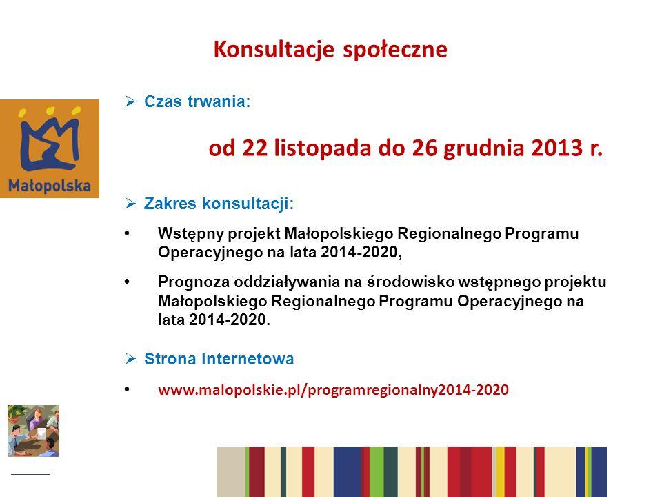 Konsultacje społeczne Czas trwania: od 22 listopada do 26 grudnia 2013 r.