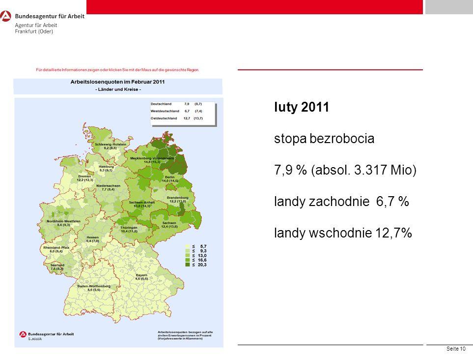 Seite 10 Arbeitnehmerfreizügigkeit, © Bundesagentur für Arbeit luty 2011 stopa bezrobocia 7,9 % (absol. 3.317 Mio) landy zachodnie 6,7 % landy wschodn