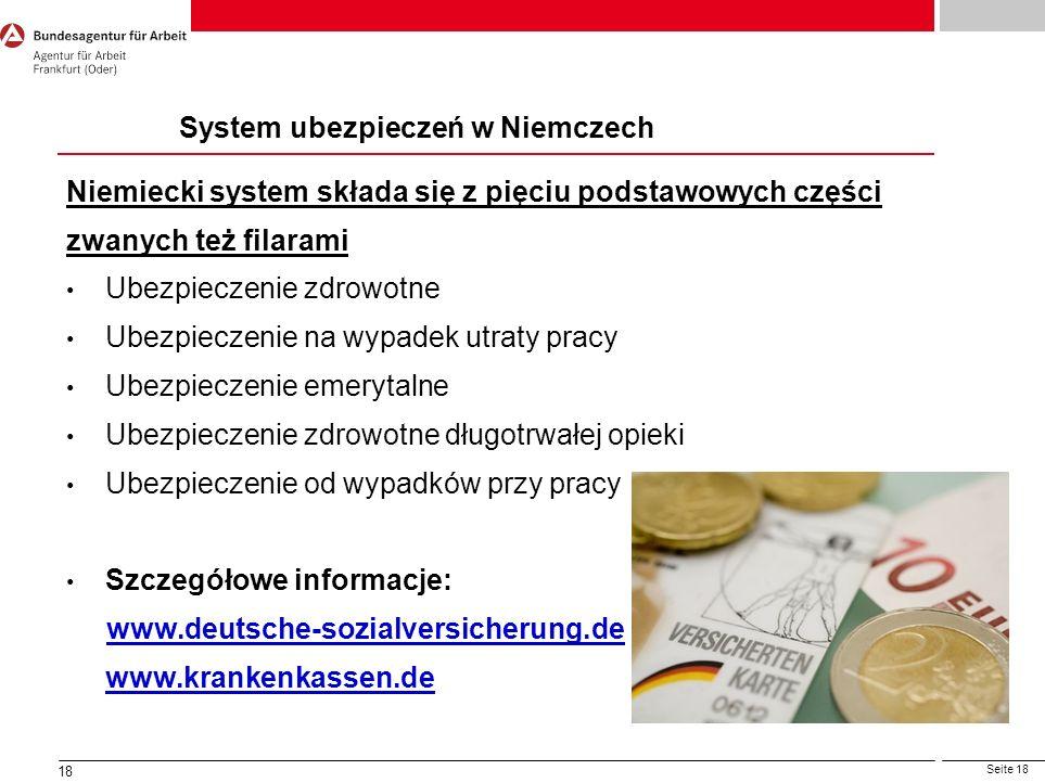 Seite 18 18 Ubezpieczenie Społeczne Niemiecki system składa się z pięciu podstawowych części zwanych też filarami Ubezpieczenie zdrowotne Ubezpieczeni