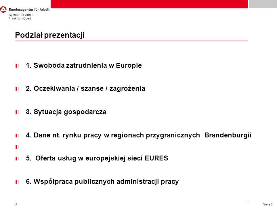 Seite 2 1. Swoboda zatrudnienia w Europie 2. Oczekiwania / szanse / zagrożenia 3. Sytuacja gospodarcza 4. Dane nt. rynku pracy w regionach przygranicz