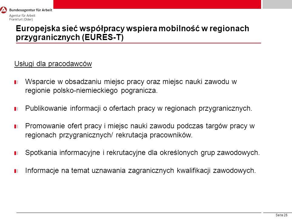 Seite 25 Europejska sieć współpracy wspiera mobilność w regionach przygranicznych (EURES-T) Usługi dla pracodawców Wsparcie w obsadzaniu miejsc pracy