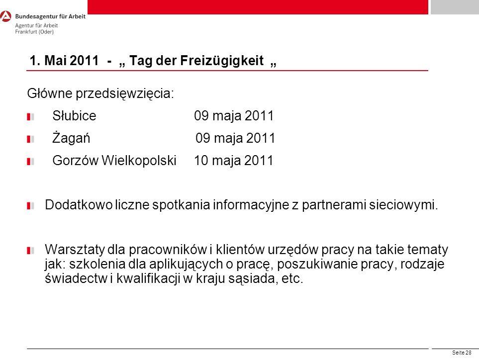 Seite 28 1. Mai 2011 - Tag der Freizügigkeit Główne przedsięwzięcia: Słubice 09 maja 2011 Żagań 09 maja 2011 Gorzów Wielkopolski 10 maja 2011 Dodatkow