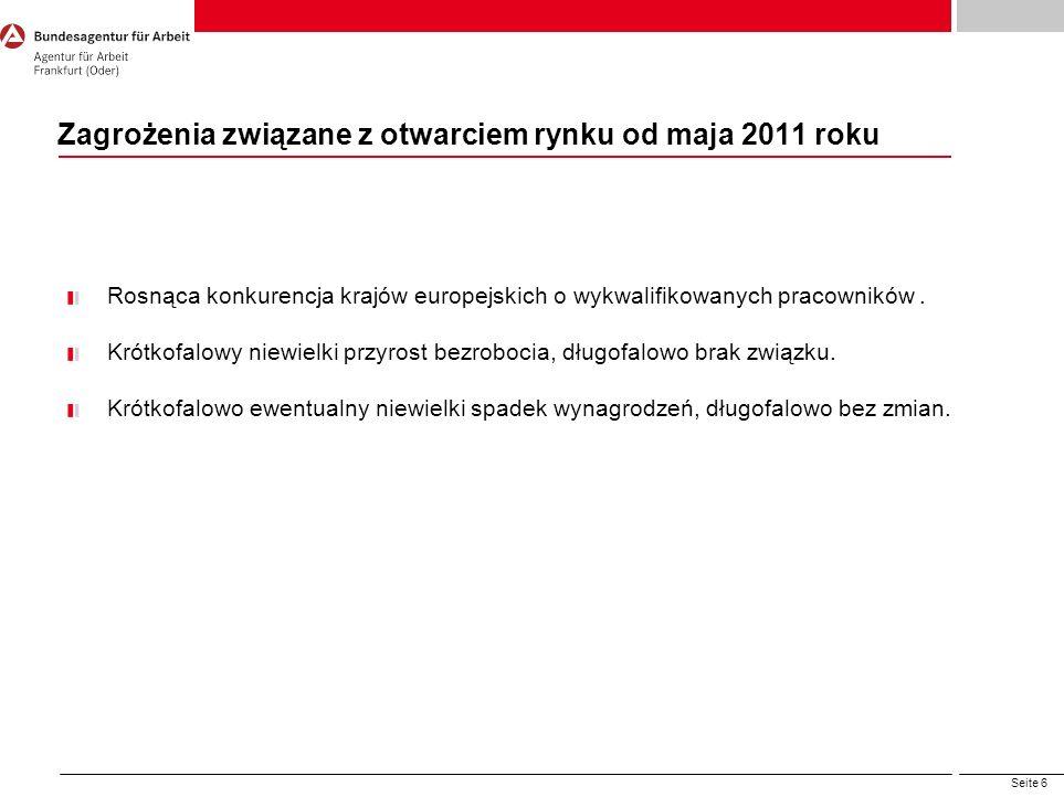 Seite 6 Zagrożenia związane z otwarciem rynku od maja 2011 roku Rosnąca konkurencja krajów europejskich o wykwalifikowanych pracowników. Krótkofalowy