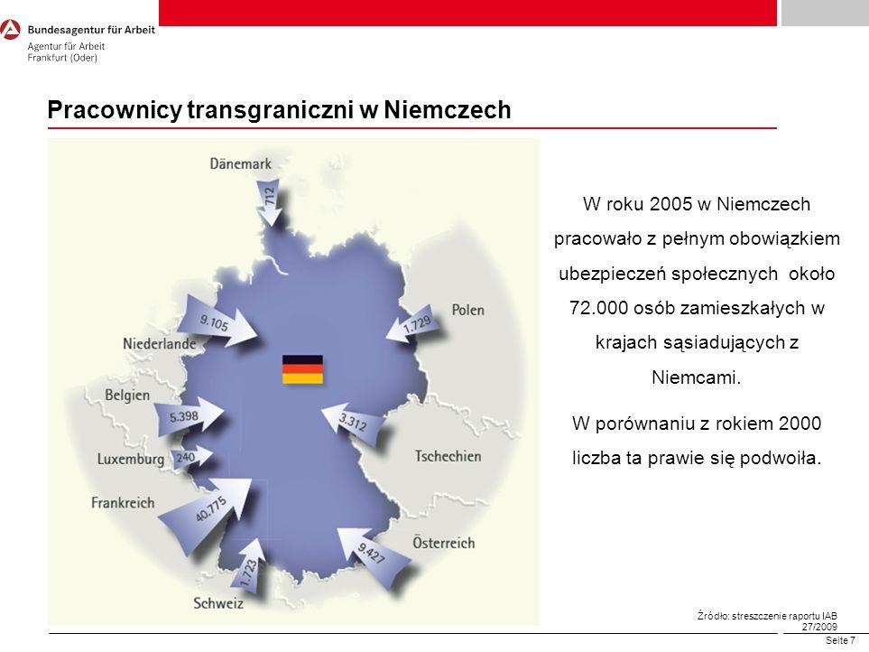 Seite 7 Pracownicy transgraniczni w Niemczech W roku 2005 w Niemczech pracowało z pełnym obowiązkiem ubezpieczeń społecznych około 72.000 osób zamiesz