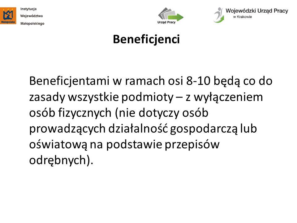 Beneficjentami w ramach osi 8-10 będą co do zasady wszystkie podmioty – z wyłączeniem osób fizycznych (nie dotyczy osób prowadzących działalność gospo