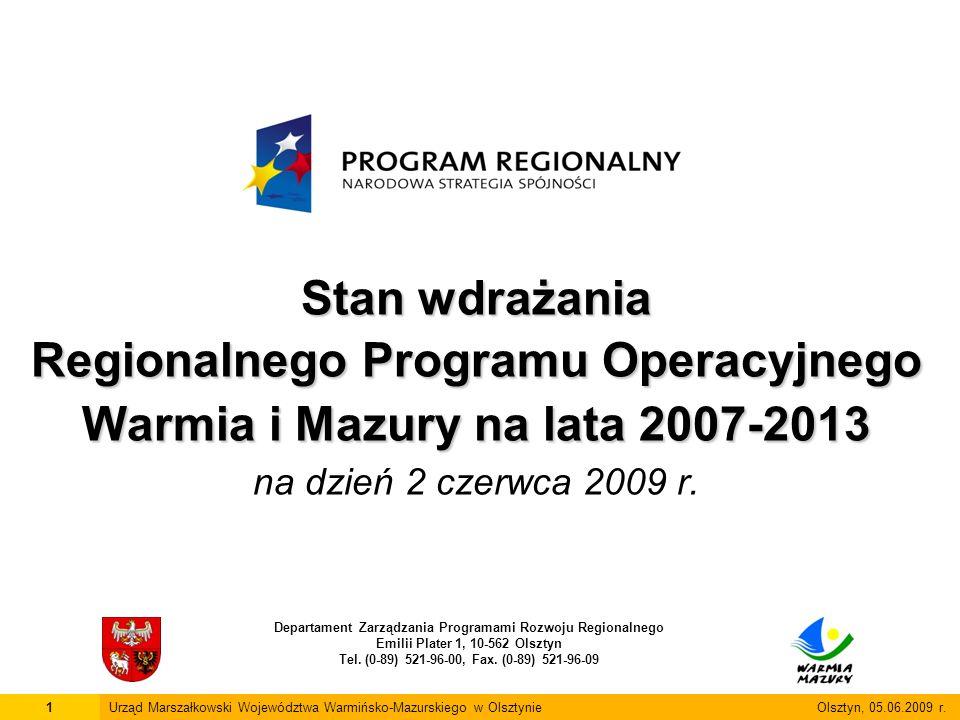 Stan wdrażania Regionalnego Programu Operacyjnego Warmia i Mazury na lata 2007-2013 Stan wdrażania Regionalnego Programu Operacyjnego Warmia i Mazury na lata 2007-2013 na dzień 2 czerwca 2009 r.