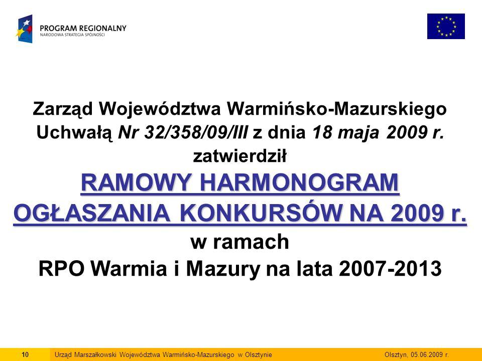 10Urząd Marszałkowski Województwa Warmińsko-Mazurskiego w Olsztynie Olsztyn, 05.06.2009 r. RAMOWY HARMONOGRAM OGŁASZANIA KONKURSÓW NA 2009 r. Zarząd W