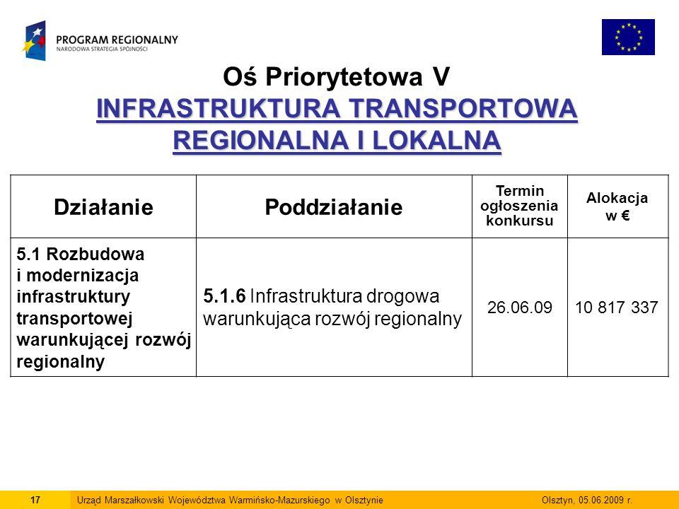 17Urząd Marszałkowski Województwa Warmińsko-Mazurskiego w Olsztynie Olsztyn, 05.06.2009 r.