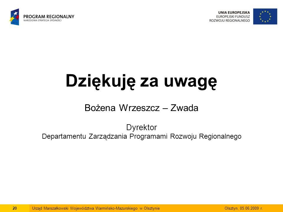 Dziękuję za uwagę Bożena Wrzeszcz – Zwada Dyrektor Departamentu Zarządzania Programami Rozwoju Regionalnego 20Urząd Marszałkowski Województwa Warmińsko-Mazurskiego w Olsztynie Olsztyn, 05.06.2009 r.