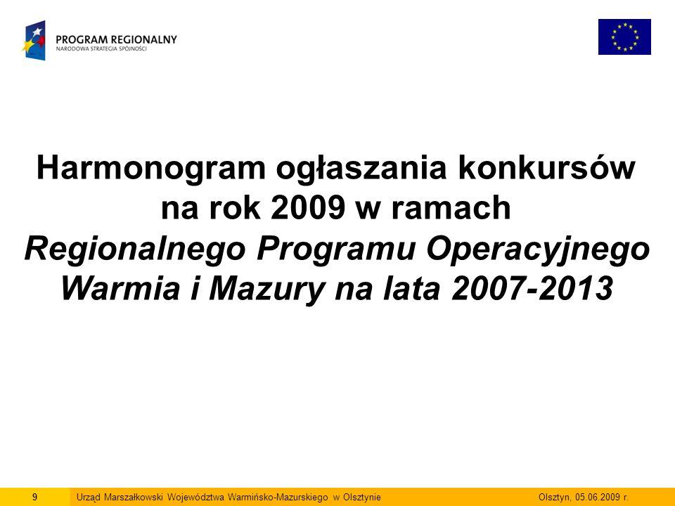 9 Harmonogram ogłaszania konkursów na rok 2009 w ramach Regionalnego Programu Operacyjnego Warmia i Mazury na lata 2007-2013