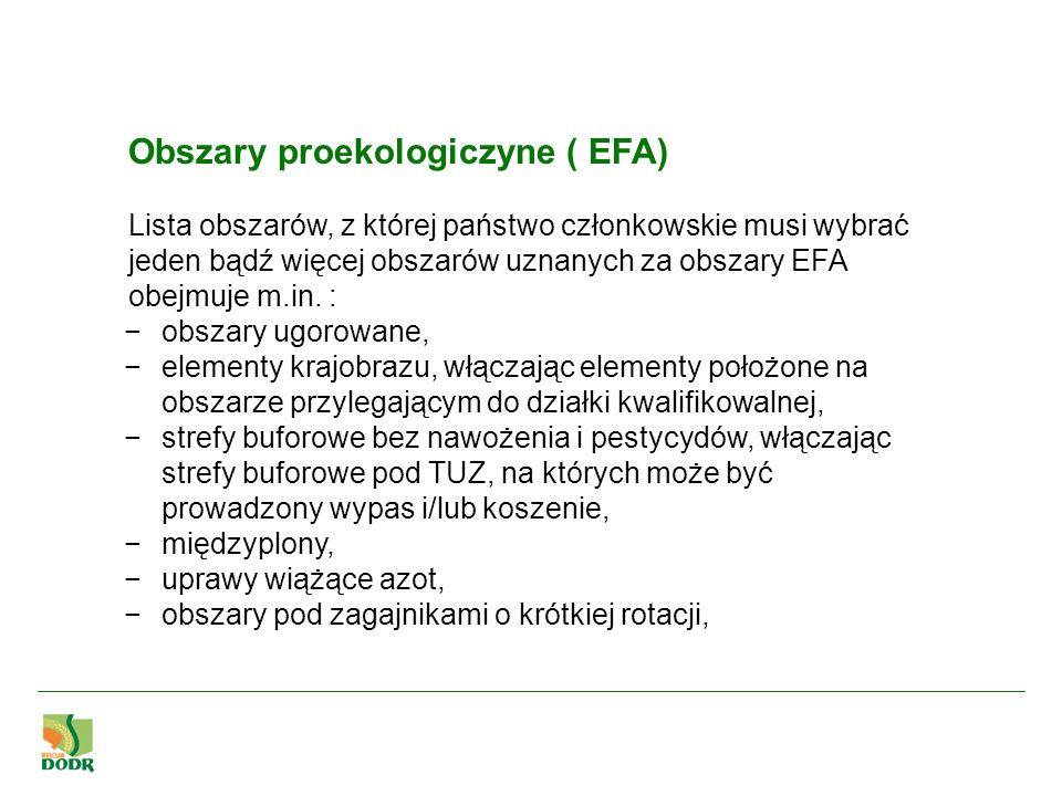 Obszary proekologiczyne ( EFA) Lista obszarów, z której państwo członkowskie musi wybrać jeden bądź więcej obszarów uznanych za obszary EFA obejmuje m