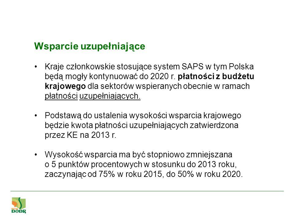 Wsparcie uzupełniające Kraje członkowskie stosujące system SAPS w tym Polska będą mogły kontynuować do 2020 r. płatności z budżetu krajowego dla sekto