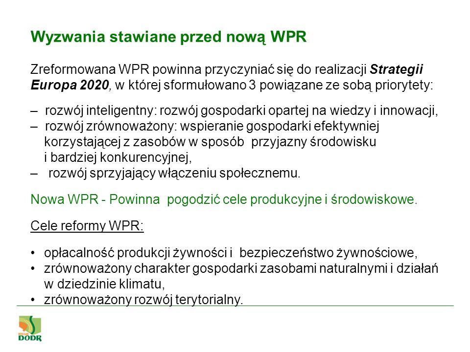 Wyzwania stawiane przed nową WPR Zreformowana WPR powinna przyczyniać się do realizacji Strategii Europa 2020, w której sformułowano 3 powiązane ze so